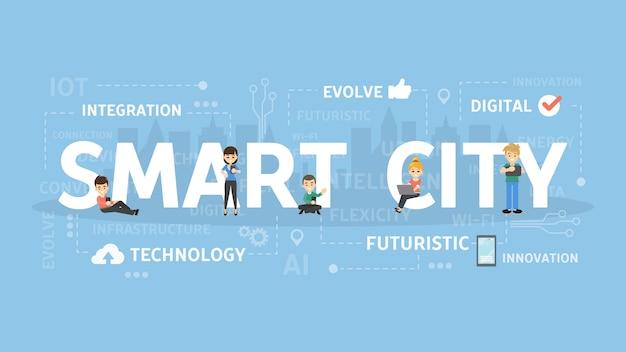 Concetto di illustrazione della città intelligente. idea della tecnologia wireless. Vettore Premium