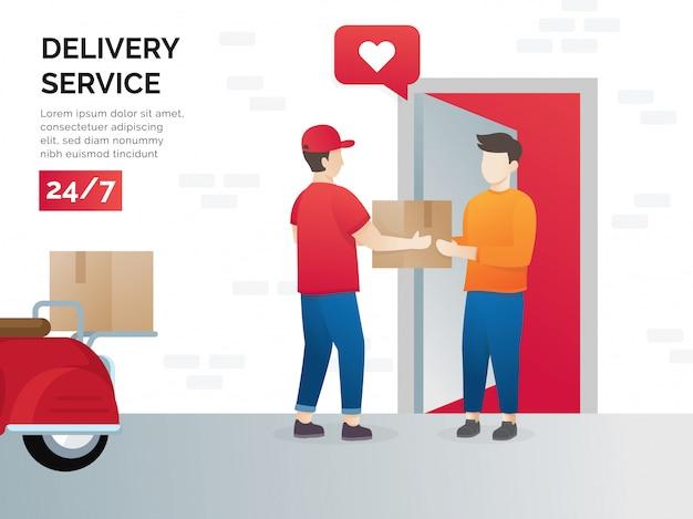 Concetto di illustrazione di servizi di spedizione merci Vettore Premium