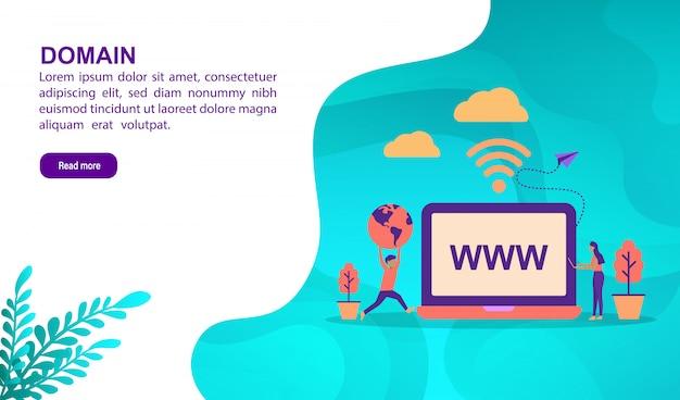 Concetto di illustrazione dominio con carattere. modello di pagina di destinazione Vettore Premium