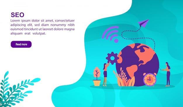 Concetto di illustrazione seo con carattere. modello di pagina di destinazione Vettore Premium