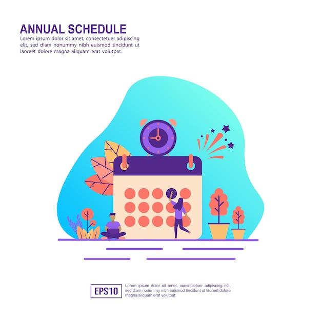 Concetto di illustrazione vettoriale del programma annuale Vettore Premium