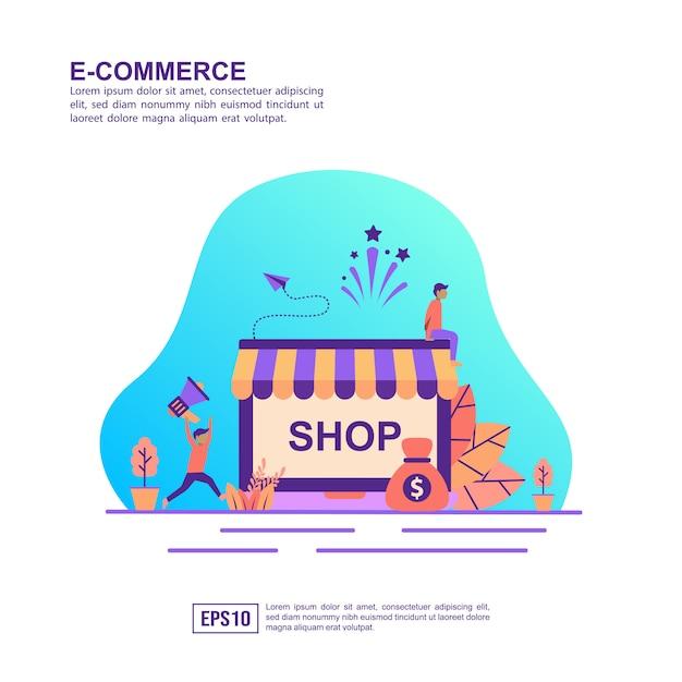 Concetto di illustrazione vettoriale di e-commerce Vettore Premium
