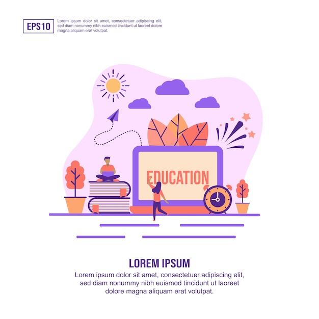 Concetto di illustrazione vettoriale di educazione Vettore Premium