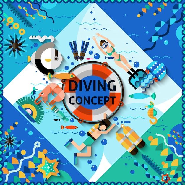 Concetto di immersioni subacquee Vettore gratuito
