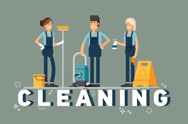 Concetto di impresa di pulizie. Vettore Premium