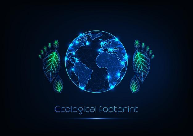 Concetto di impronta ecologica con bagliore futuristico basso pianeta poligonale e stampe del piede umano. Vettore Premium