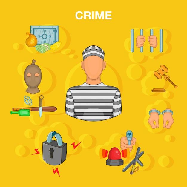 Concetto di incidente di crimine, stile cartoon Vettore Premium