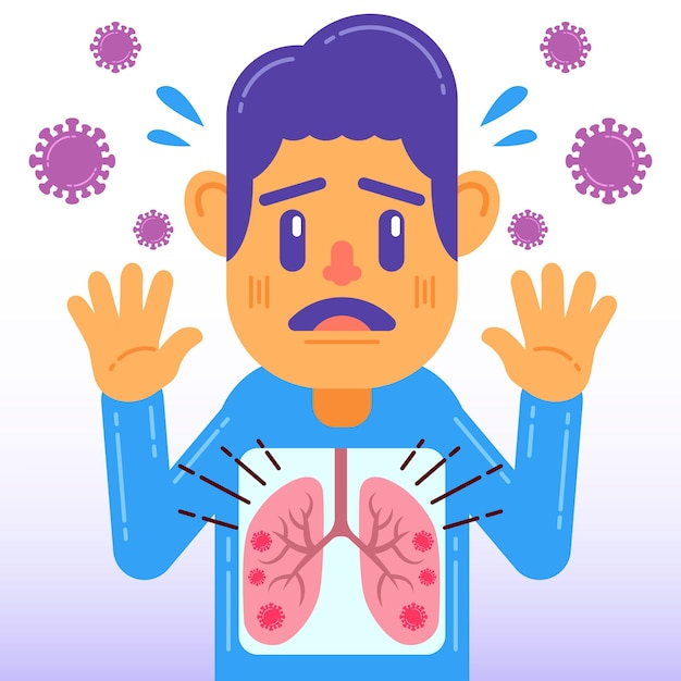 Concetto di infezione polmonare coronavirus Vettore gratuito