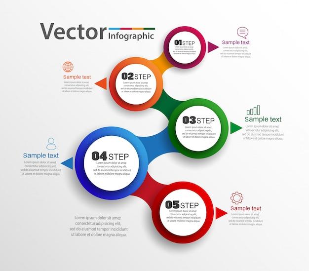 Concetto di infografica con 5 opzioni o passaggi Vettore Premium