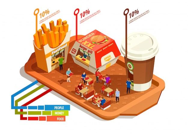 Concetto di infografica corte di cibo Vettore gratuito