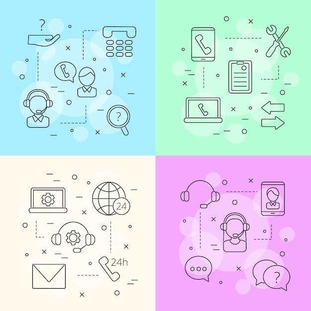 Concetto di infografica di linea chiamata supporto centro icone Vettore Premium