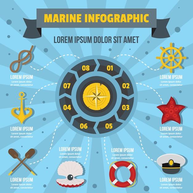 Concetto di infografica marina, stile piatto Vettore Premium
