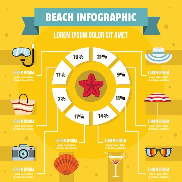 Concetto di infografica spiaggia, stile piano Vettore Premium
