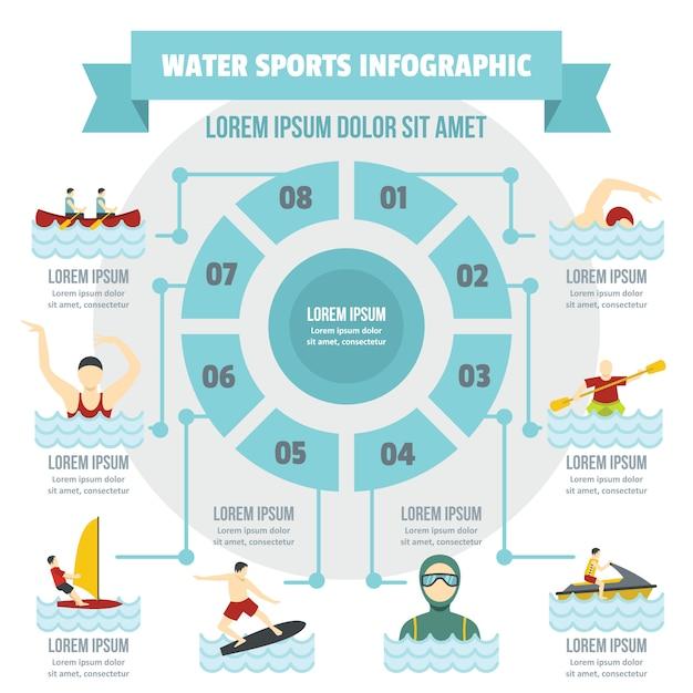 Concetto di infografica sport acquatici, stile piano Vettore Premium