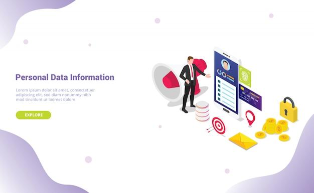 Concetto di informazioni di dati personali con dati sulla privacy di sicurezza con stile isometrico per modello di sito web Vettore Premium
