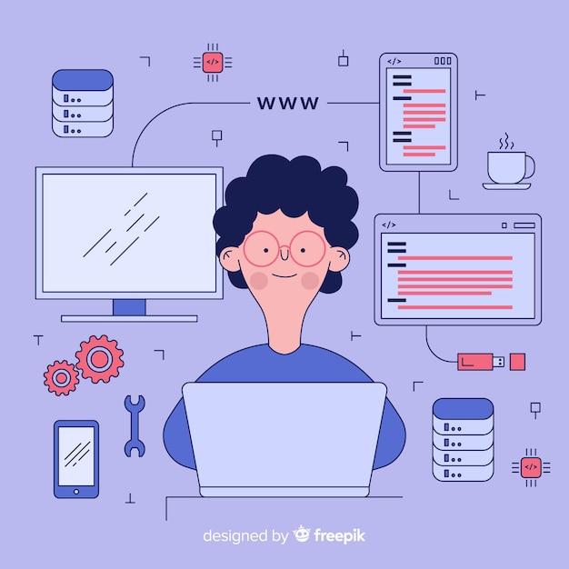 Concetto di ingegneria computer piatto Vettore gratuito