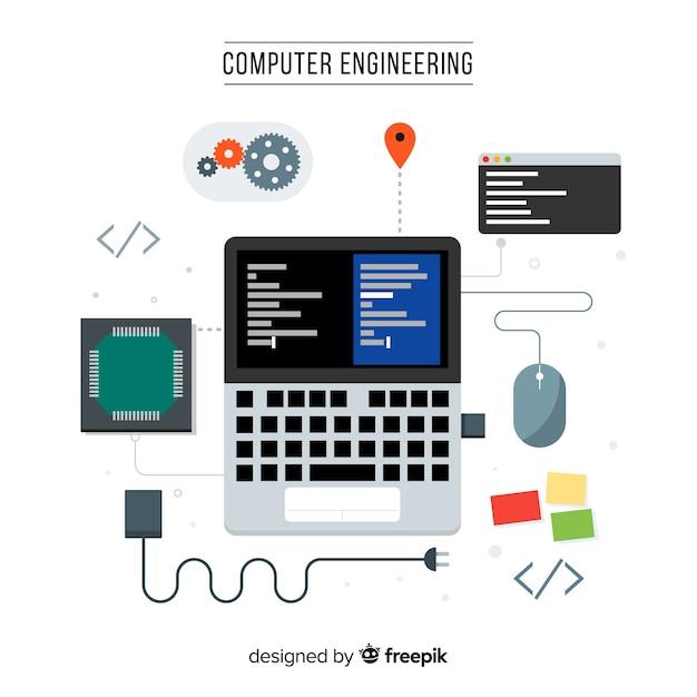 Concetto di ingegneria informatica piatta Vettore gratuito