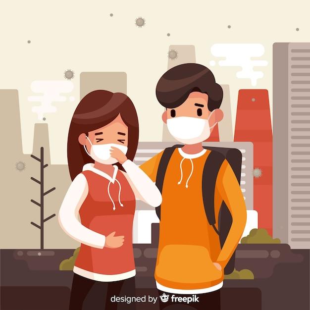 Concetto di inquinamento con giovane coppia in città Vettore gratuito