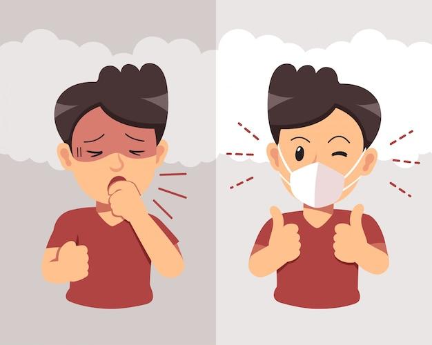 Concetto di inquinamento dell'aria. uomo che tossisce e indossa una maschera protettiva contro il fumo Vettore Premium