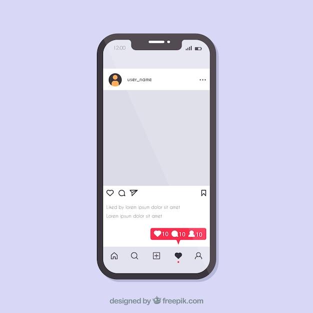 Concetto di instagram con smartphone Vettore gratuito