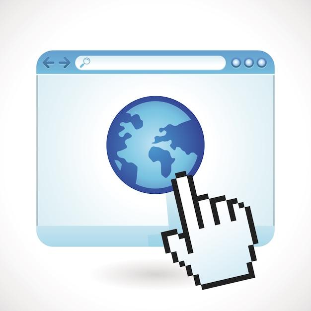 Concetto di internet vettoriale - finestra del browser con il globo Vettore Premium