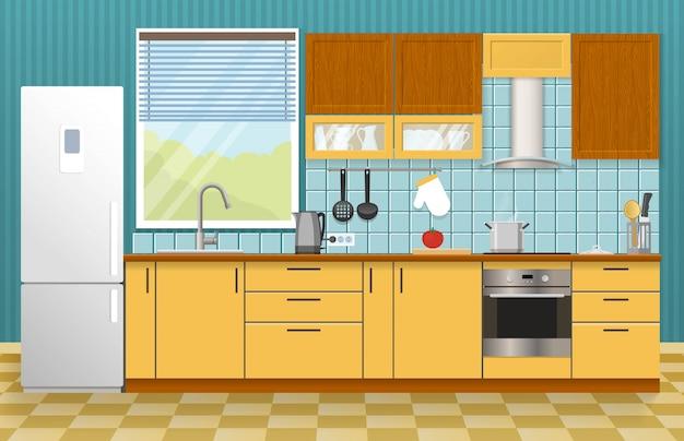 Concetto di interni di cucina Vettore gratuito