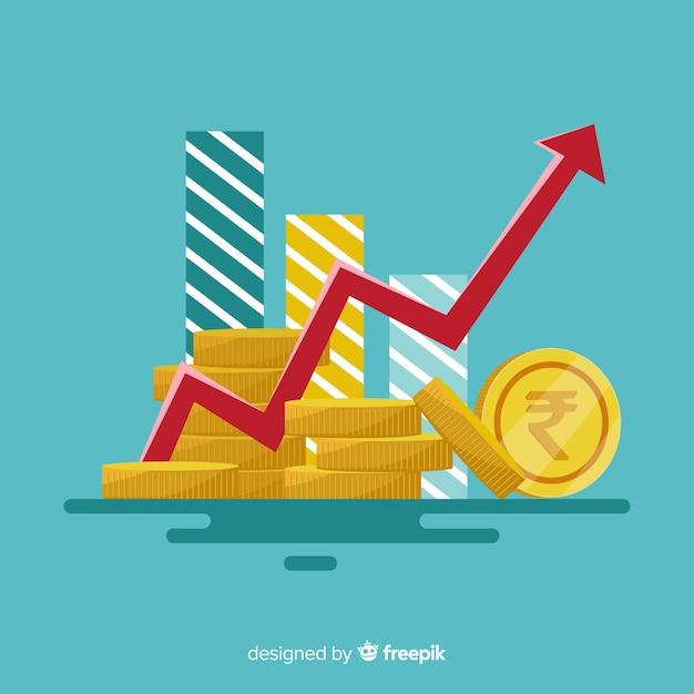 Concetto di investimento rupia indiana Vettore gratuito