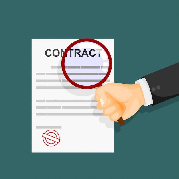 Concetto di ispezione del contratto. mani che tengono la lente d'ingrandimento sopra un contratto. illustrazione vettoriale Vettore Premium
