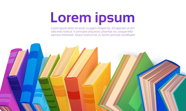 Concetto di istruzione scolastica della pila di libri Vettore Premium