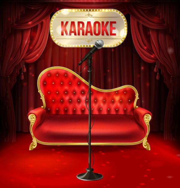 Concetto di karaoke. divano in velluto rosso con gambe dorate e microfono nero per poster Vettore gratuito