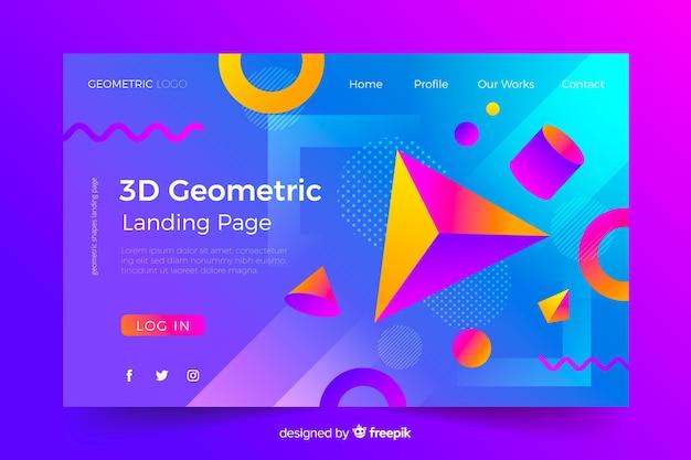 Concetto di landing page con forme geometriche Vettore gratuito