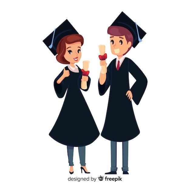 Concetto di laurea con studenti felici Vettore gratuito