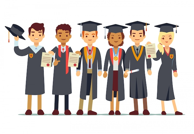 Concetto di laurea vettoriale con gli studenti Vettore Premium