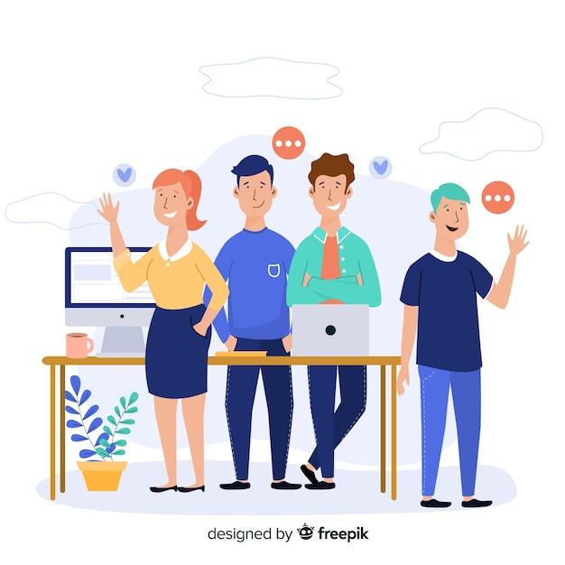 Concetto di lavoro di gruppo per la pagina di destinazione Vettore gratuito