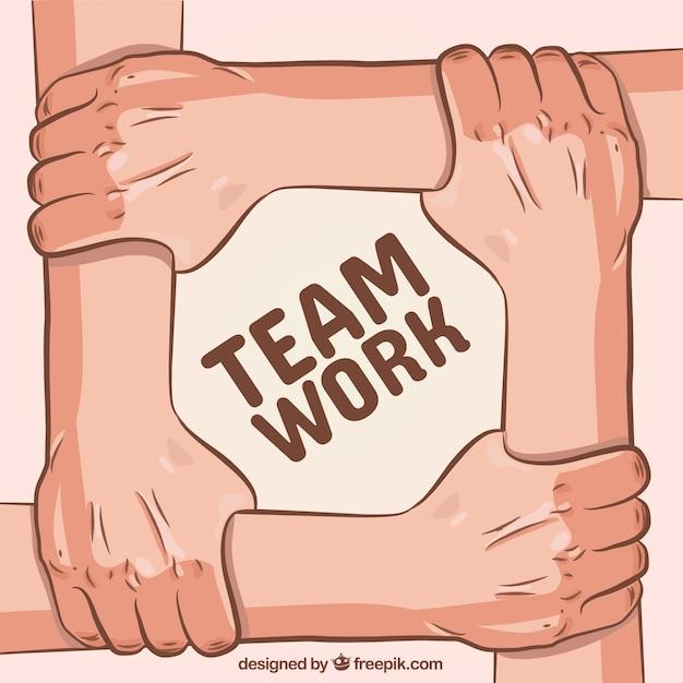 Concetto di lavoro di squadra con le mani che toccano le braccia Vettore gratuito