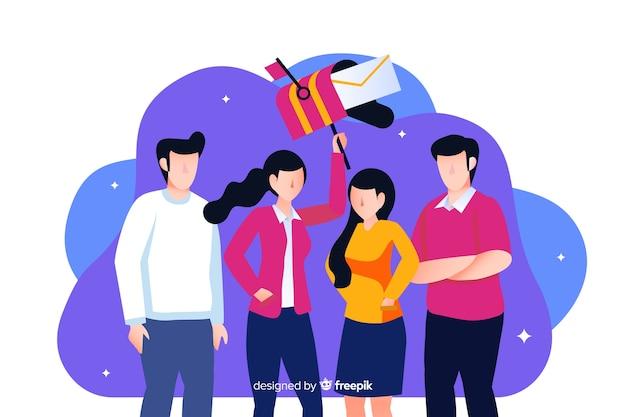 Concetto di lavoro di squadra per landing page Vettore gratuito