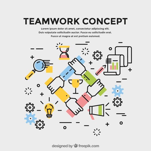 Concetto di lavoro di squadra, stile lineare Vettore gratuito