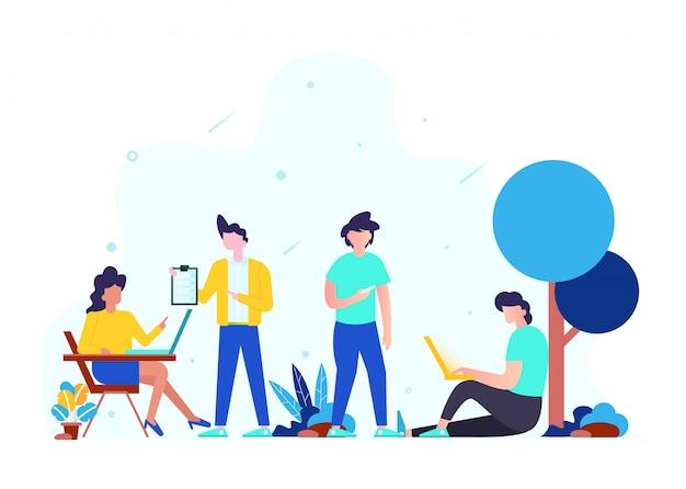 Concetto di lavoro di squadra, strategia aziendale, analisi e idea. Vettore Premium