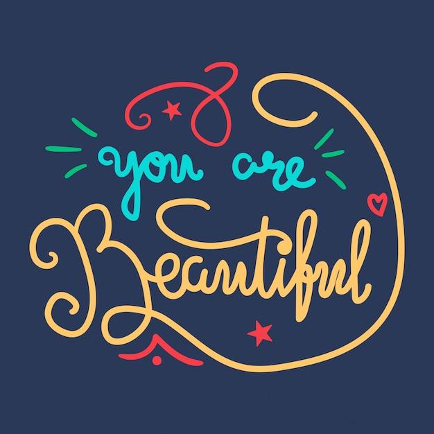 Concetto di lettering di bellezza e di motivazione Vettore Premium