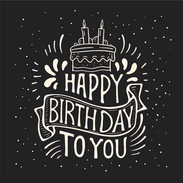 Concetto di lettering di buon compleanno Vettore gratuito