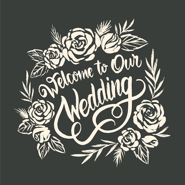 Concetto di lettering matrimonio disegnati a mano Vettore gratuito