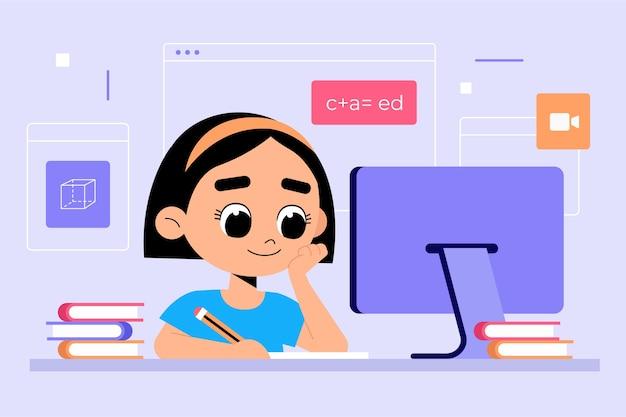Concetto di lezioni online per bambini Vettore gratuito