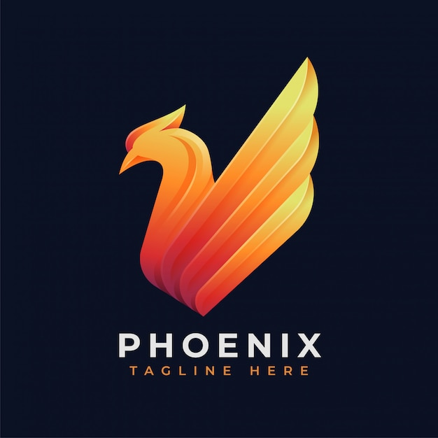 Concetto di logo di lusso phoenix Vettore Premium
