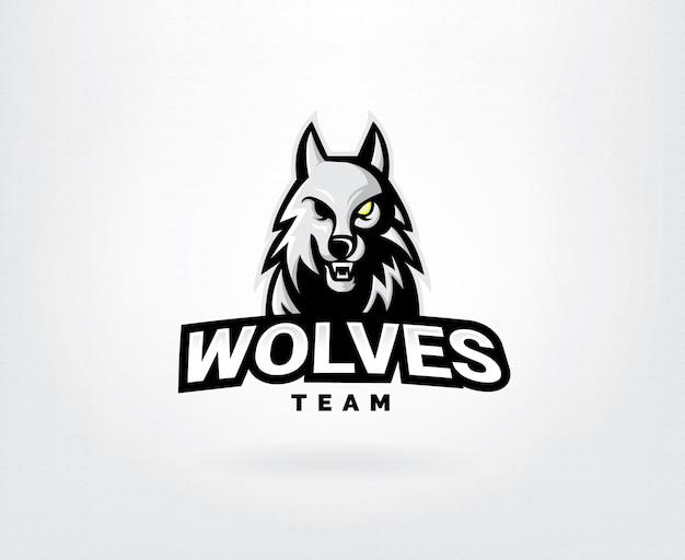 Concetto di logo di vettore testa di lupo Vettore Premium