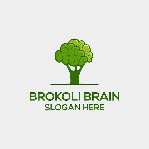Concetto di logo dual significato di broccoli e del cervello Vettore Premium