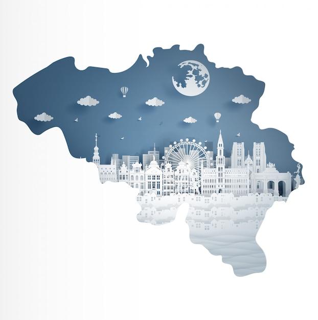Concetto di mappa belgio con famoso punto di riferimento Vettore Premium