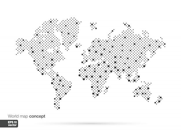 Concetto di mappa del mondo stilizzato con le più grandi città. sfondo di affari di globi. illustrazione. Vettore Premium