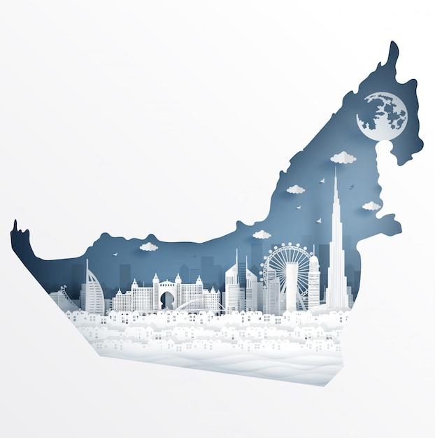 Concetto di mappa di dubai con il famoso punto di riferimento per la cartolina di viaggio e poster Vettore Premium