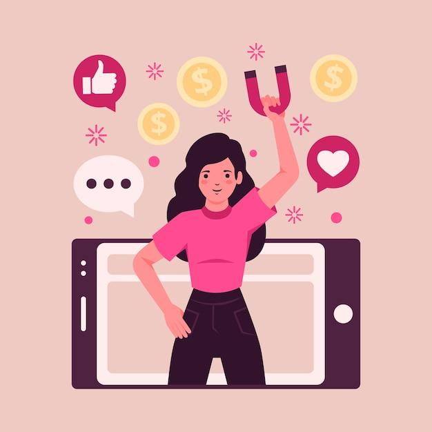 Concetto di marketing dei social media Vettore gratuito