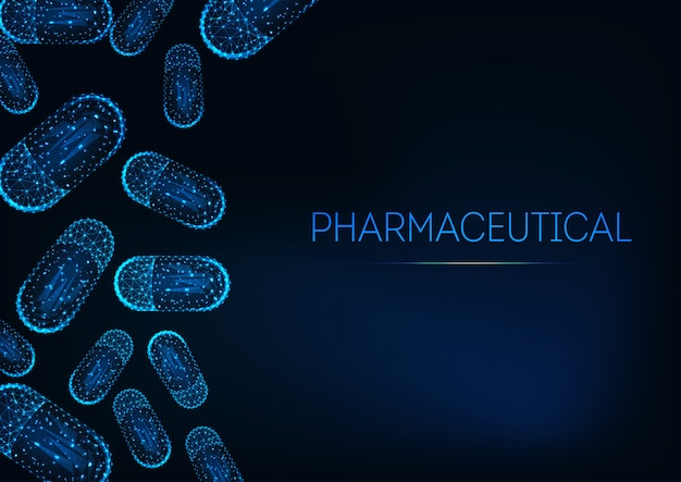 Concetto di medicina futuristica con pillole di capsule poligonali basse incandescente su sfondo blu scuro. Vettore Premium